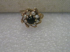 14Kt. Gold Jade and Pearl Ring, Blossom Shaped, size 6.5, Domed