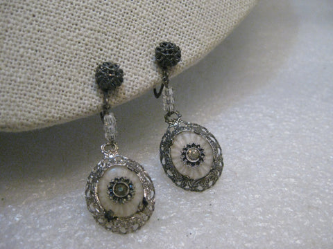 "Vintage Sterling Camphor Glass Earrings, Art Deco, Screw Back, 1 .75"" - 1920's-1930's"