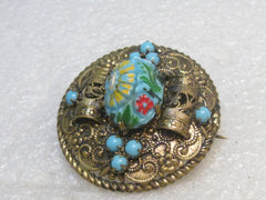 Victorian Czech Floral Glass Brooch, Rolled & Scrolled, Estate, signed, faux turquoise 1.5""