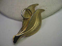 Vintage 1950's Gold Tone Double Leaf Brooch with Curl - 2.25""