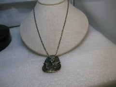 "Vintage Sterling King Tut Necklace, Egyptian 23"" chain, 29.06 grams, mid to post-century 1900's."