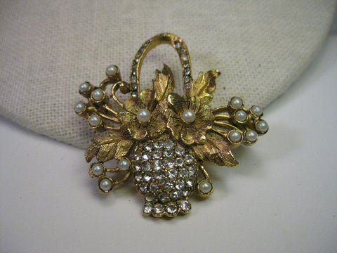 Vintage Brooch, Goldtone Floral Basket with Pave Rhinestones & Faux  Pearl Accents