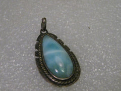 "Sterling Silver Amazonite Southwestern Pendant, 1.25""  Long, 3.68 grams"