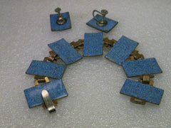 Vintage Blue Enameled Copper Convertible 2 Bracelet to Necklace, and Screwback Earrings Set - Mid-Century