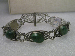 "True Vintage .930 Silver Filigree Israel  Eilat Stone Bracelet, Pin Clasp, 7.75"" - Five Links with stones"
