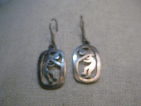 Vintage Sterling Silver Kokopelli Earrings, Pierced, Mexico. 7.66 grams
