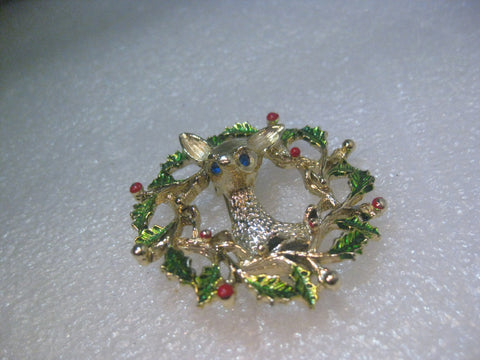 Vintage Gold Tone Gerry's Reindeer Enameled Wreath Brooch, Christmas, 2""