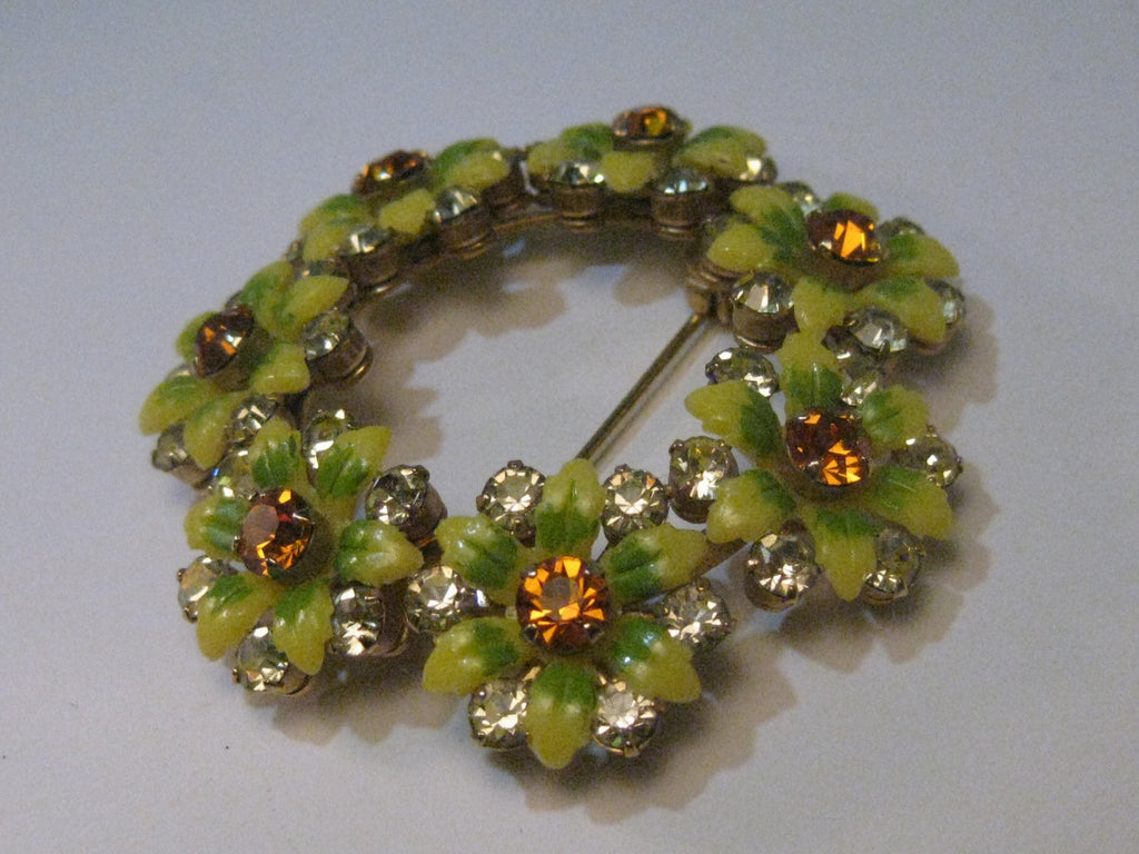 Vintage 1940's Yellow & Green Molded Floral Brooch with Amber & Clear Rhinestones - a Beauty