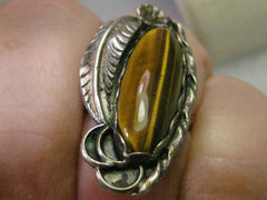 Sterling Silver Navajo Tiger's Eye Ring, with Feathers & Ornate Silver Work, Size 5.25, 6.16 grams