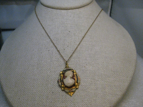 "Vintage ALLCO Cameo Necklace, Early 1900's, 18"", Gold Filled, Tri-Tone"