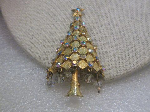 Vintage MYLU Gold Tone Christmas Tree Brooch,  Crystal Dangles & A.B. Rhinestone Accents