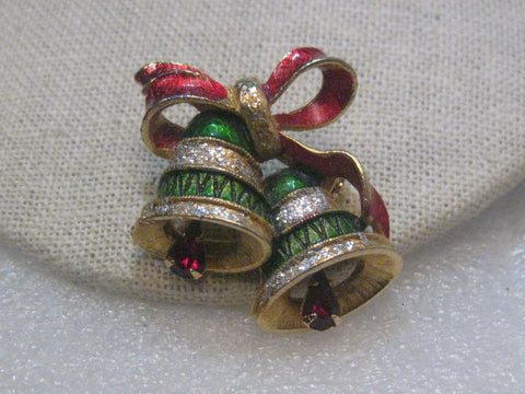 Vintage Gold Tone Christmas Bells Brooch,  1960's, Red & Green Enameling, Rhinestone Clappers