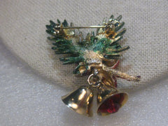 Vintage Gold Tone Green Enameled Pine Branch & Bells Christmas Brooch, Pine Cones  by ART, 1960's