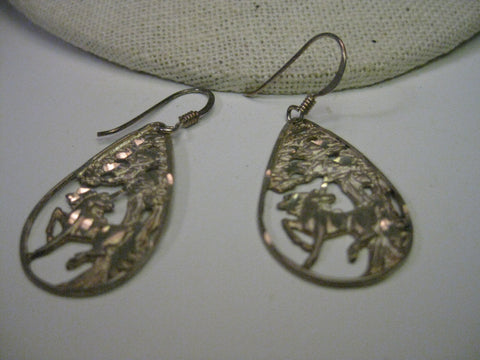 Vintage Sterling Silver Unicorn in the Woods Earrings, Diamond Cut, Dangle Pierced
