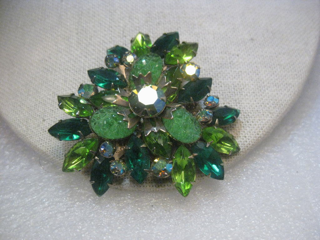 True Vintage  Shades of Green A.B. Rhinestone/Patterned Glass 1950's Brooch
