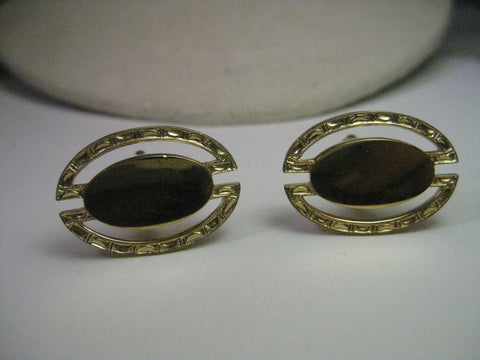 Vintage Gold Tone Art Deco Style Cuff Links& Tie Tack Set , Stamped Outer Frame