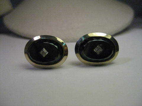Vintage Gold Tone Cuff Links, Cut Black Stone with Faux Diamond Center, Oval, 1970's