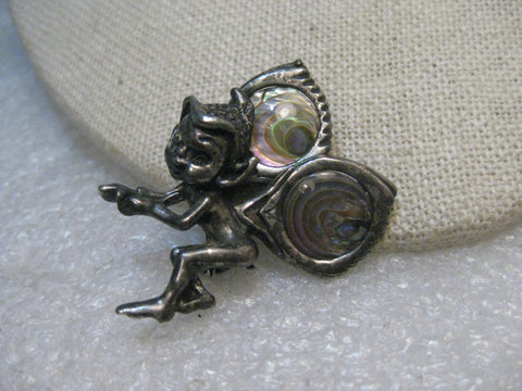 Sterling Silver Abalone Fairy/Imp Brooch, 8.96 grams.  Cyvra?