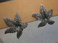 Vintage Silver Tone Faux Marcasite, Turquoise Enameled Clip Leaf Earrings, signed made in West Germany