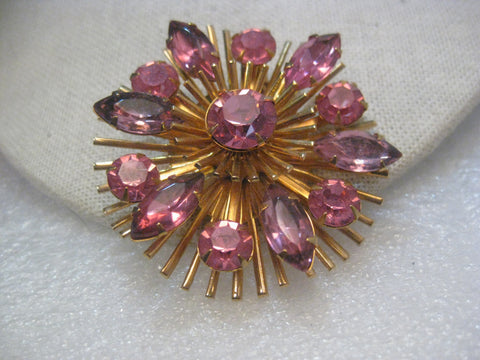 Vintage Gold Tone  Pink Rhinestone 1940's Tiered Brooch/Pendant, 2""