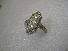 18kt White Gold Art Deco Diamond Ring Engagement Ring, 9 diamonds, size 7, Long, 3.38 grams, .50 ctw plus