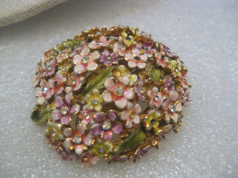 Vintage Corocraft Forget-Me-Not Domed Enameled Brooch, Pink/Green, 1960's0000