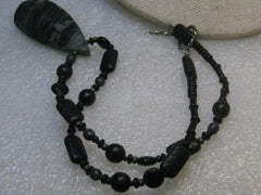 Southwestern Banded  Agate Beaded Necklace, Gray/Black,  Sterling, 18""