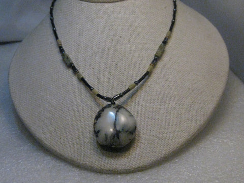 Southwestern White/Black Agate Beaded Necklace, Dendritic/Landscape, Sterling, 18""