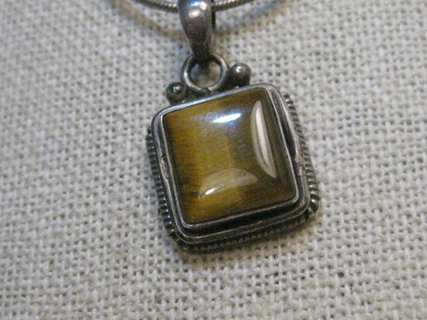 "Sterling Silver Southwestern Tigers Eye Necklace, 18"", signed, 1970's,"