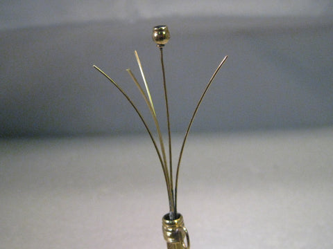Vintage 14kt Gold Art Deco Retractable Swizzle Stick, w/Diamond & Sapphire - Rare & Unique