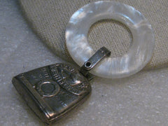 1930's Sterling Birth Record Teethe .Rattle Mother-of-Pearl Plastic Ring
