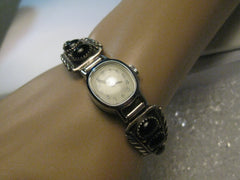 Vintage  Ladies Sterling Silver Onyx Watch Tips signed RB, Robert Becenti with Watch