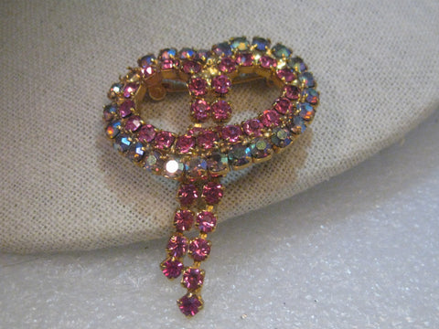 Vintage Gold Tone Pink & Rainbow Aurora Borealis Art Deco Brooch with Pink Rhinestone Waterfall Dangles,