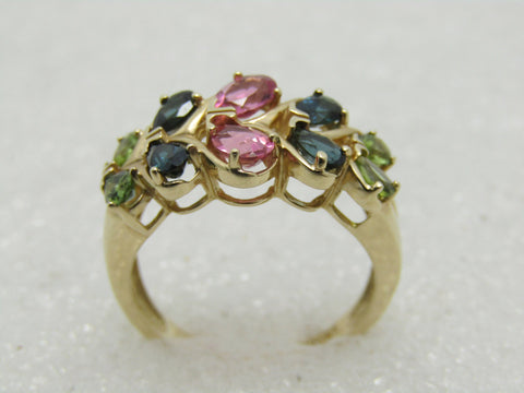 14kt Multi-Tourmaline Cluster Ring, Size 9.25, 2.14 TCW+, CID, Clyde Duneier, 5.40 Grams, Pear Greens & Pink