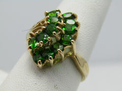 10kt Green Tourmaline Cluster Ring, Art Deco Theme, Size 9.5, 2.4 TCW+, Signed JCR, 4.15gr.