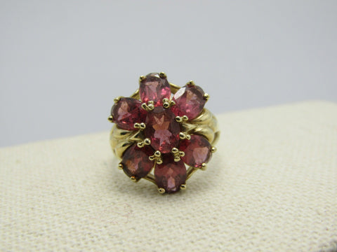 10kt Tourmaline Cluster Ring, Blossom, Size 9, 4.5 TCW+, Yellow Gold, Signed EL