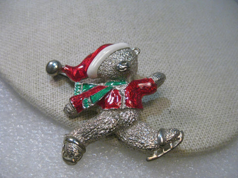 Vintage Silver Tone Enameled Christmas Skating Bear Brooch, signed Gio