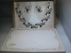 Vintage Coro Demi Parure Blue Rhinestone Necklace/Choker & Clip Earrings set, in Original Box, 1960's, Silver Tone