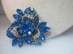 Vintage Art Deco Blue Rhinestone Brooch, 1950-1960's. Floral Undercarriage