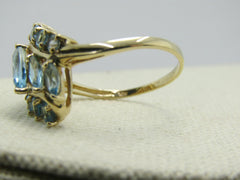 10kt Aquamarine Tiered Bypass Ring, Size 10.5, 2TCW, Yellow Gold, Signed Sanuk