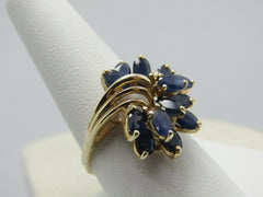 10kt Blue Spinel Cluster Ring, Tiered, Art Deco Design, Size 10, 3.5 TCW+, Yellow Gold, Signed EL