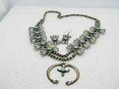 "Vintage Sterling Turquoise Squash Blossom Necklace & Earrings Set, 25"", 106 grams"