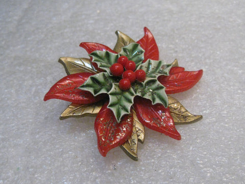 "Vintage Poinsettia Christmas Brooch, Layered, 1960's, 2"" Spins, Red, Green, Gold"