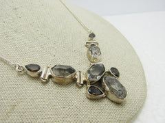 "Sterling Quartz Crystal Bib Necklace, Hinged, 18"",  Boho, 18.10 Gr., 1980's-1990's"