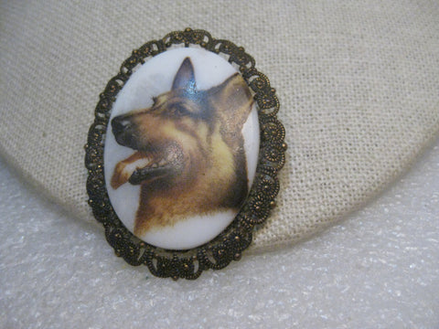 "Vintage German Shepherd Cameo Brooch, Filigree Framed, 2"", Western Germany"