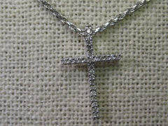 "14kt White Gold Necklace and 18kt Diamond Cross, 20"", New in Box, Excellent Quality"