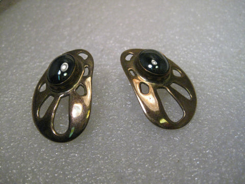 Vintage Hematite and Polished Brass Pierced Earrings, signed Gastineau, Modern, Abstract, Southwestern, Boho