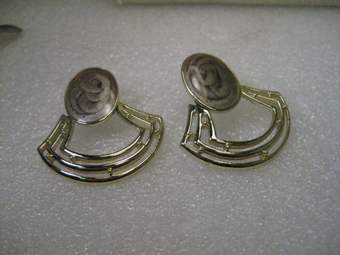 Vintage 1980's Gold Tone Stud and Swing Pierced Earrings with Pearly Mocha Stud, 1.5""