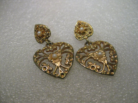 Vintage 1980's Gold Tone Double Heart Pierced Stud & Dangle Earrings, Made in USA, Faux Pearl, 1.75""