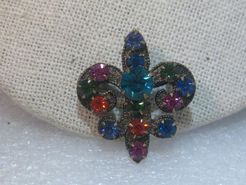 Vintage  Gemstone Colored Rhinestone Fleur-de-Lis Brooch, Antique Washed, 1960's